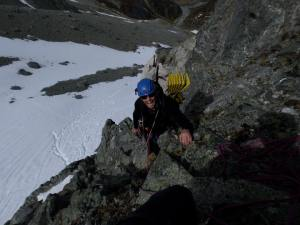 On Shadows Buttress (IV, 16, M3), a powerful and gorgeous line. We simul-climbed the bulk of it and descended just shy of the summit after Monz dislocated his shoulder.