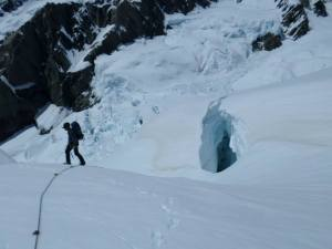 Matt trying to route-find a way to the base of the Muezzin Spur. Access-sans-siege was impossible this season.
