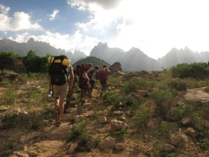 Ben and the porters walking into the Hajhir Mountains