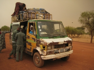 A carte-carte on a border crossing from Burkina Faso into Mali.
