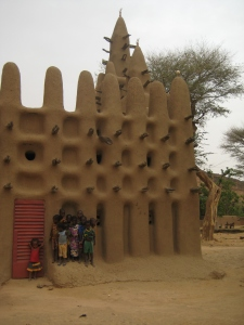 A typical mud mosque at the base of the Bandiagara Escarpment.