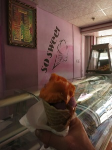 Some good ice cream in Sana'a. This is a two scoop boysenberry-and-mango winner