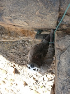 Amadou stems his way to glory on the final crux pitch of MT