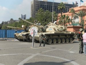 "A pair of Ramses II tanks in front of the Egyptian Museum during the 2011 Arab ""Spring"" Revolution"