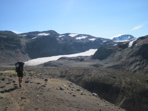Simon approaching the Helm Glacier after skirting the Cinder Cone.
