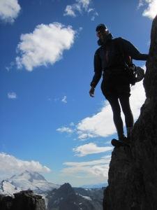 Simon descending the final rockstep off the backside of Polemonium Ridge
