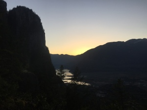 The Chief and the Howe Sound at sunset