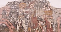 A medieval mosaic depicting a Hungarian noble killing a Cuman... the two groups had some baggage